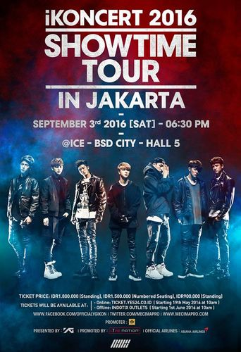 the poster of iKONCERT 2016 'SHOWTIME TOUR' - JAKARTA