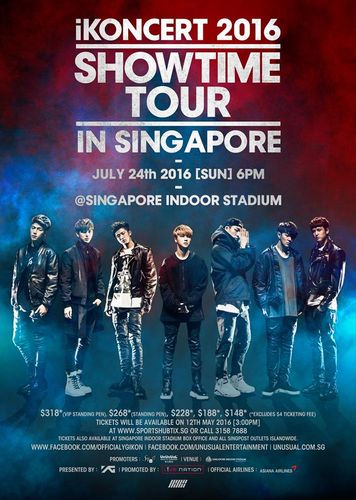 the poster of iKONCERT 2016 'SHOWTIME TOUR' - Singapore