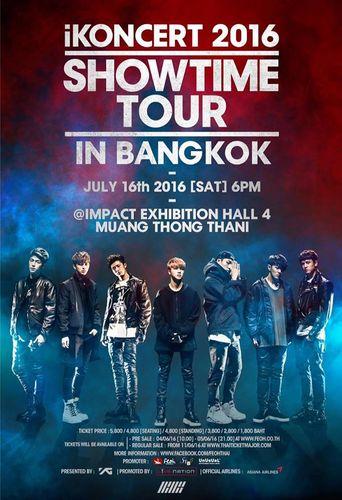 the poster of iKONCERT 2016 'SHOWTIME TOUR' - BANGKOK