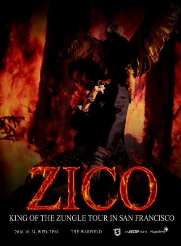 """the poster of ZICO """"King Of the Zungle"""" Tour in San Francisco"""