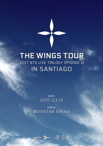 the poster of 2017 BTS LIVE TRILOGY EPISODE III THE WINGS TOUR in Santiago