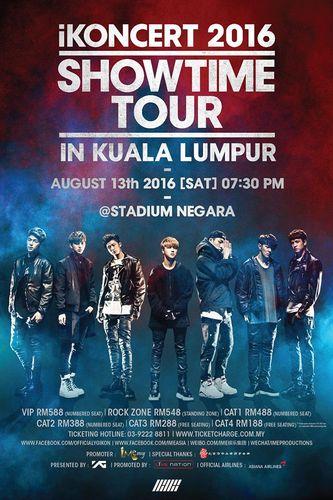 the poster of iKONCERT 2016 'SHOWTIME TOUR' - KUALA LUMPUR
